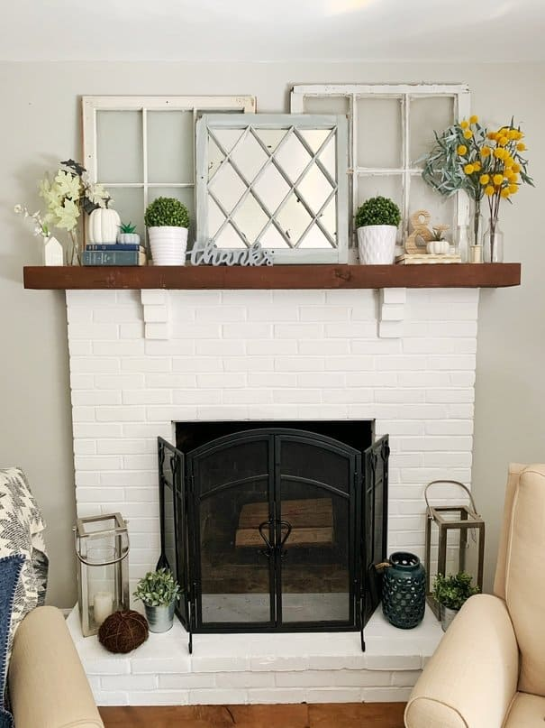 Fall decor on fireplace mantle